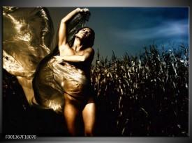 Glas schilderij Vrouw | Geel, Blauw, Zwart