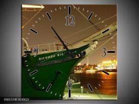 Wandklok op Glas Boot | Kleur: Groen, Goud | F001374CGD
