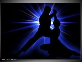 Foto canvas schilderij Dansen | Zwart, Blauw, Wit