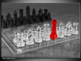Glas schilderij Schaken | Grijs, Zwart, Rood