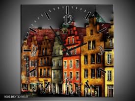 Wandklok op Glas Gebouw | Kleur: Rood, Geel, Grijs | F001400CGD
