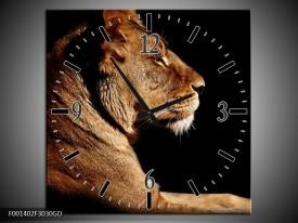 Wandklok op Glas Leeuw | Kleur: Bruin, Zwart | F001402CGD