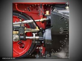 Wandklok op Canvas Trein   Kleur: Rood, Zwart, Grijs   F001416C