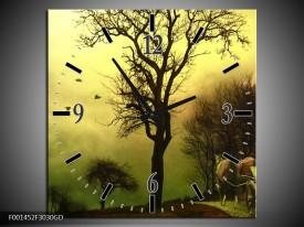 Wandklok op Glas Natuur | Kleur: Groen, Bruin | F001452CGD