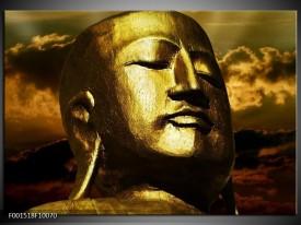 Glas schilderij Boeddha   Goud, Grijs, Zwart