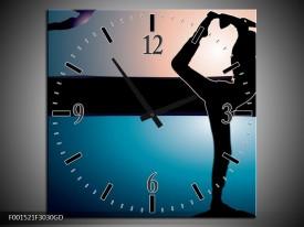 Wandklok op Glas Dansen | Kleur: Blauw, Zwart, Wit | F001521CGD