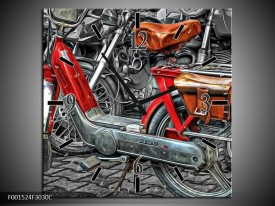 Wandklok op Canvas Brommer | Kleur: Rood, Grijs, Wit | F001524C