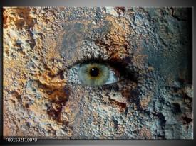 Foto canvas schilderij Oog   Grijs, Geel