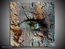Wandklok op Canvas Oog   Kleur: Grijs, Geel   F001532C