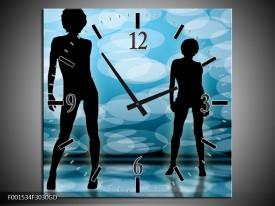 Wandklok op Glas Dansen | Kleur: Zwart, Blauw, Wit | F001534CGD