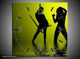 Wandklok op Glas Dansen | Kleur: Groen, Zwart | F001544CGD