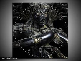 Wandklok op Glas Religie   Kleur: Grijs, Zwart, Zilver   F001546CGD