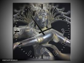 Wandklok op Glas Religie | Kleur: Grijs, Zwart, Zilver | F001547CGD