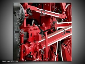 Wandklok op Glas Trein | Kleur: Rood, Zwart, Wit | F001555CGD