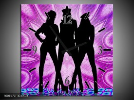 Wandklok op Glas Vrouwen | Kleur: Paars, Zwart, Wit | F001577CGD