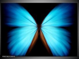 Glas schilderij Vlinder | Blauw, Zwart