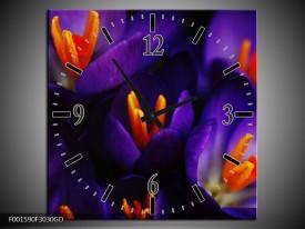 Wandklok op Glas Bloem   Kleur: Zwart, Oranje, Paars   F001590CGD