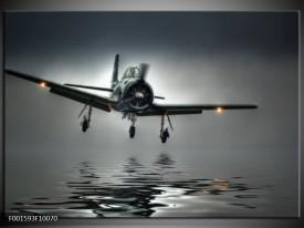 Glas schilderij Vliegtuig | Grijs, Zwart, Wit