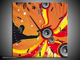 Wandklok op Glas Dansen   Kleur: Zwart, Rood, Geel   F001603CGD