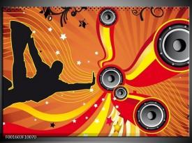 Glas schilderij Dansen | Zwart, Rood, Geel