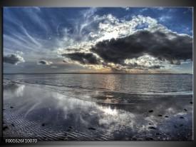 Foto canvas schilderij Zee | Grijs, Wit, Blauw
