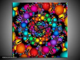 Wandklok op Glas Rond | Kleur: Paars, Groen, Geel | F001633CGD
