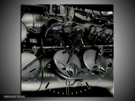 Wandklok op Canvas Instrument | Kleur: Zwart, Grijs | F001643C