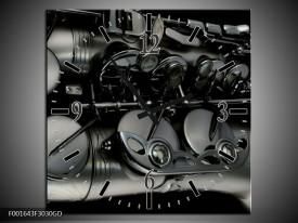 Wandklok op Glas Instrument | Kleur: Zwart, Grijs | F001643CGD