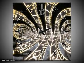 Wandklok op Canvas Abstract | Kleur: Zwart, Goud, Wit | F001667C