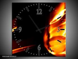 Wandklok op Glas Abstract | Kleur: Geel, Oranje, Zwart | F001668CGD