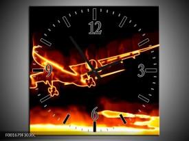 Wandklok op Canvas Vliegtuig | Kleur: Geel, Oranje, Zwart | F001679C