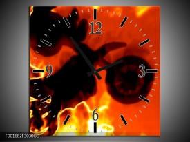 Wandklok op Glas Motor | Kleur: Geel, Oranje, Zwart | F001682CGD