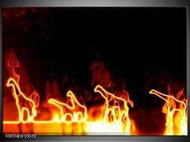 Glas schilderij Giraffe | Geel, Oranje, Zwart