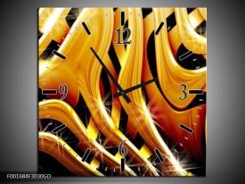 Wandklok op Glas Abstract | Kleur: Goud, Geel, Zwart | F001684CGD