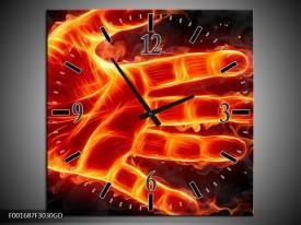 Wandklok op Glas Hand | Kleur: Oranje, Geel, Zwart | F001687CGD