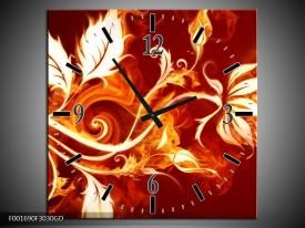Wandklok op Glas Bloem | Kleur: Goud, Rood, Geel | F001690CGD