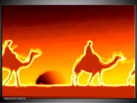 Glas schilderij Kameel | Geel, Oranje, Rood