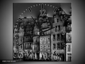 Wandklok op Canvas Gebouw | Kleur: Grijs, Zwart, Wit | F001743C