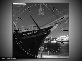 Wandklok op Glas Boot | Kleur: Grijs, Zwart, Wit | F001746CGD