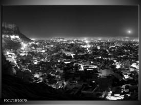 Glas schilderij Uitzicht | Grijs, Zwart, Wit