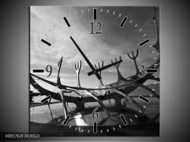 Wandklok op Glas Kunst | Kleur: Grijs, Zwart, Wit | F001762CGD