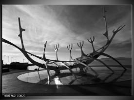 Glas schilderij Kunst | Grijs, Zwart, Wit