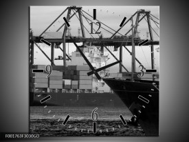 Wandklok op Glas Boot | Kleur: Grijs, Zwart, Wit | F001763CGD