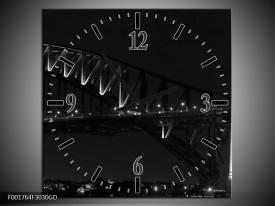Wandklok op Glas Brug | Kleur: Grijs, Zwart, Wit | F001764CGD