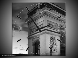Wandklok op Glas Parijs | Kleur: Grijs, Zwart, Wit | F001765CGD
