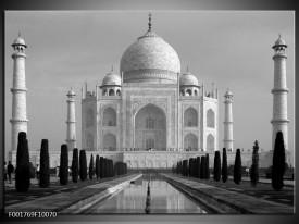 Glas schilderij Taj Mahal | Grijs, Zwart, Wit