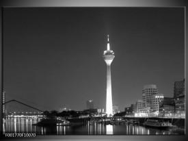 Glas schilderij Rotterdam | Grijs, Zwart, Wit