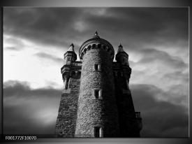 Foto canvas schilderij Toren | Grijs, Zwart, Wit