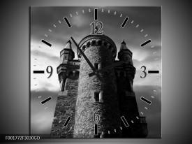 Wandklok op Glas Toren | Kleur: Grijs, Zwart, Wit | F001772CGD