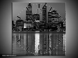 Wandklok op Glas Gebouw   Kleur: Grijs, Zwart, Wit   F001789CGD